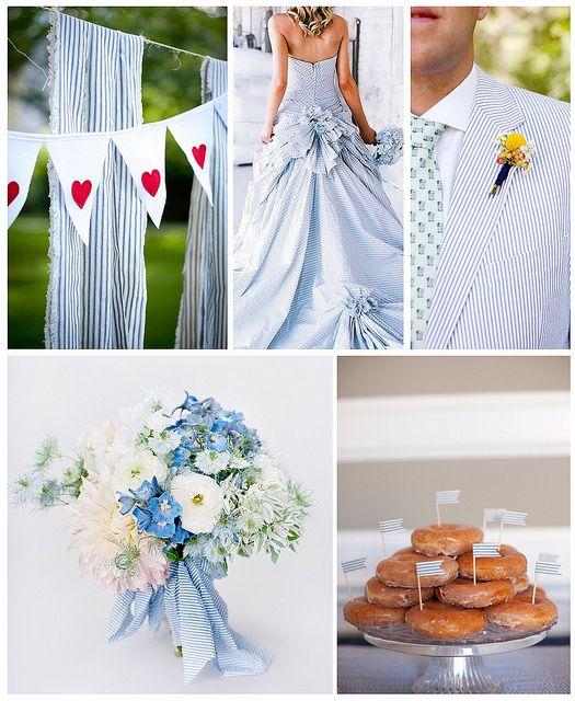 Blue and white seersucker-inspired summer wedding