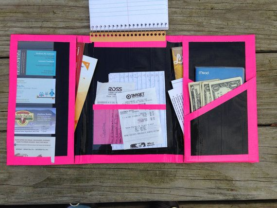 Hot Pink And Black Duct Tape Organizing Folder by SCcreates