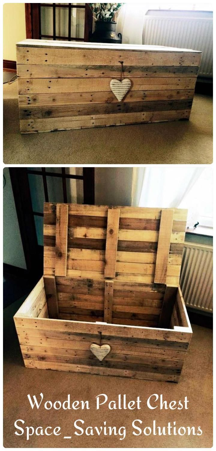 Wooden pallet chest space saving solutions