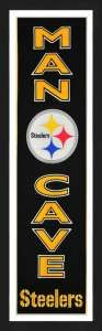 Framed Pittsburgh Steelers Man Cave banner.