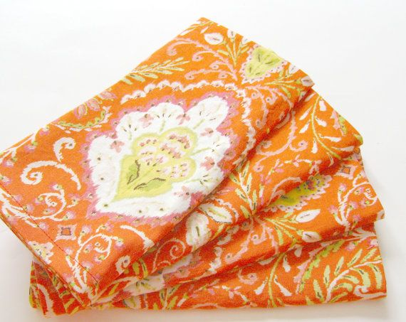 Cloth Napkins  Set of 4  Red Orange Design  Dinner by ClearSkyHome, $18.00