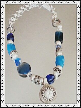 Cheq crystal and blue gemstone piece