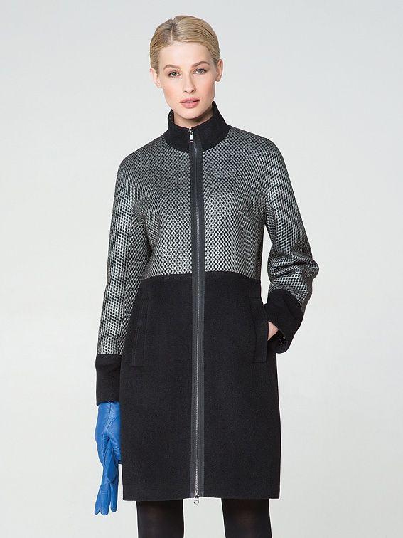 Пальто женское цвет черно-белый, пальтовая ткань, артикул 1015690p10098