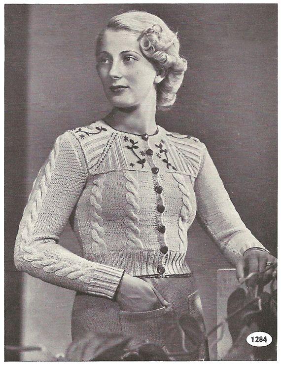 1930s Knitting Pattern for Womens Tyrolean Cardigan / Vest / Jacket - 33 in bust 84 cm  - Digital PDF