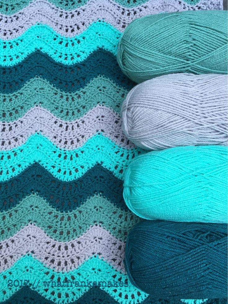 Stylecraft Special DK: Sage, Silver, Aspen and Teal. Baby blanket made by whatfrankamakes.