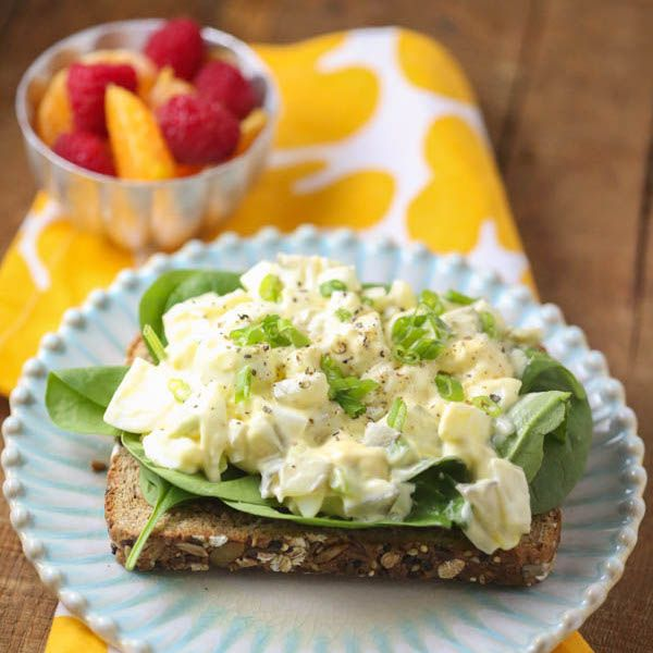 Quick, easy, and healthy egg salad sandwich perfectly scaled for one person! Perfect for a fast lunch or dinner!
