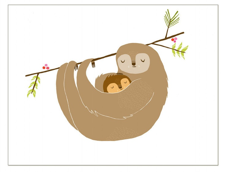 Mother's Day - Mama Sloth Greeting Card. $4.00, via Etsy ...