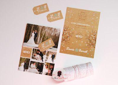 Faire-part de remerciement mariage sur-mesure charme d'hiver couleurs taupe blanc et bleu glacial www.lafilleaunoeudrouge.fr