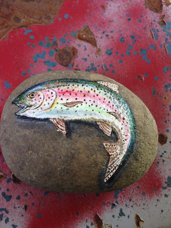 Painted Rock Rainbow Trout Paperweight Painted Rock Fish