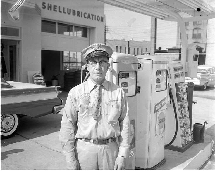 Gas stations began life as Service Stations. Attendants would rush to the car, check the water, check the oil, air up the tires, wash the windows, pump the gas, and collect payment all with a smile while the drivers sat in the comfort of their cars.