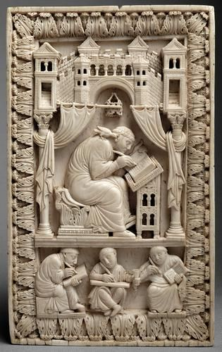 Ivory carving of Pope Gregory the Great being inspired by the Holy Spirit, now in the Kunsthistorisches Museum, Vienna
