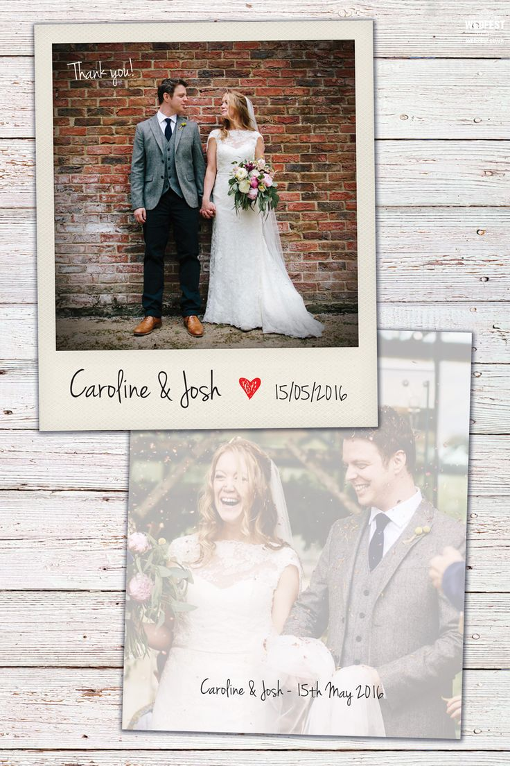 what to write in my bridal shower thank you cards%0A These polaroid photo style wedding cards are perfect for alternative brides  and grooms whether they are used for thank you cards  save the dates or