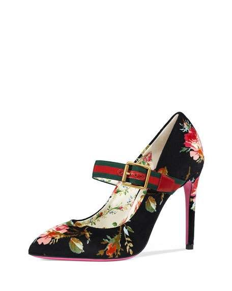 790310f51ccd88 Floral-Print Velvet Pumps with Web Strap by Gucci at Neiman Marcus ...