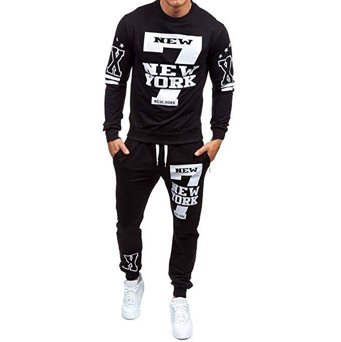 1d8a2ec837adf Realdo Men's 2Pcs Casual Print Letter York Sweat Sets Sports Suit ...