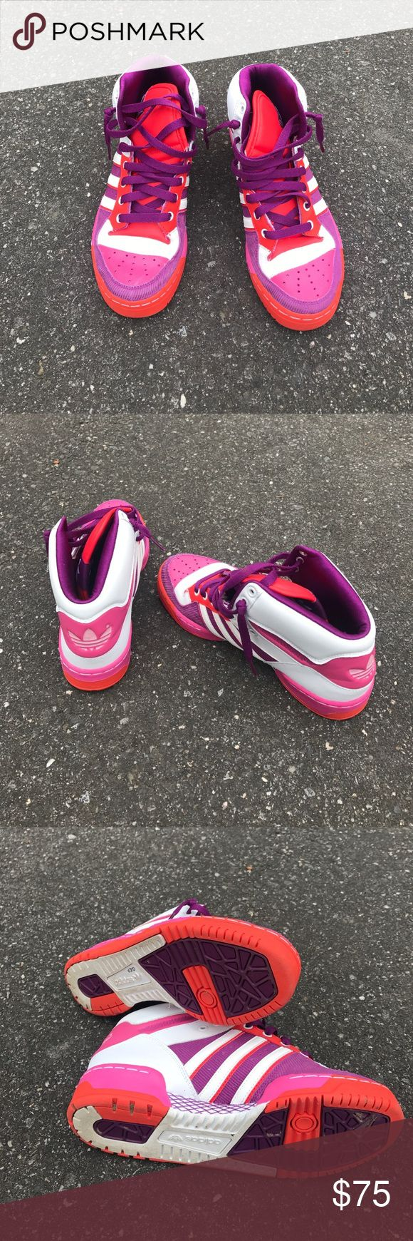 Adidas Pink purple and orange adidas mid top. Worn once! Perfect condition. Adidas Shoes Sneakers