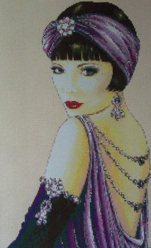 Art Deco Flapper Lady in Purple Dress - Cross Stitch