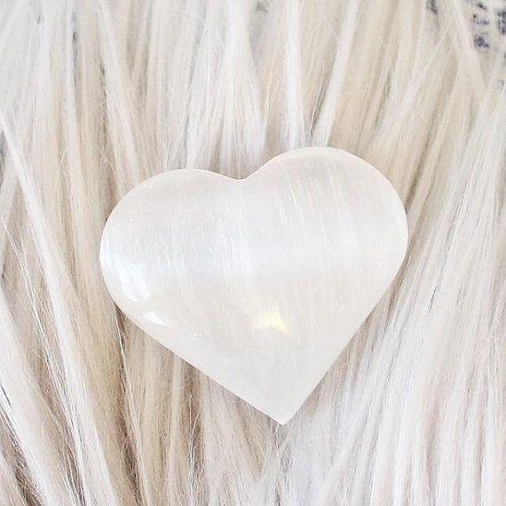 Selenite Crystal Heart Carved Crystal Selenite Heart Natural