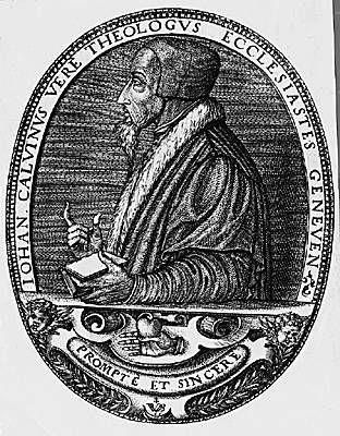 Jean Calvin.- De nombreuses oppositions l'obligent, en 1538, à se retirer 3 ans à Strasbourg où il mettra au point sa liturgie. En 1541, ses partisans ayant repris le pouvoir, il est rappelé avec insistance à Genève. Après de longues hésitations,il cède à ce qu'il croit être la volonté de Dieu. En 1543, avec les Ordonnances, il règle la vie chrétienne, privée et publique, de la République.