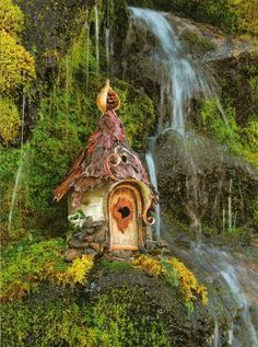♧ Charming Fairy Cottages ♧ garden faerie gnome & elf houses & miniature furniture - fae cottage by the water