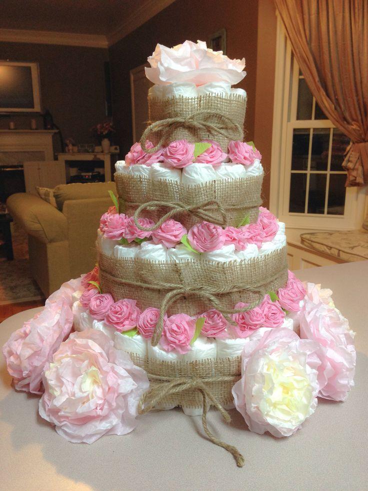 Burlap and rose diaper cake.
