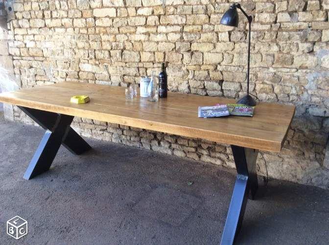 Table a manger industrielle bois m tal sur mesure - Table a manger industrielle ...
