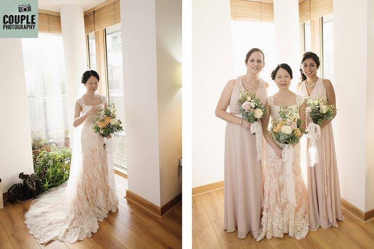 The bride & her bridesmaids. The bride made her own wedding dress with a touch of pale pink underneath beautiful hand sewn lace! A real D.I.Y wedding. Weddings at Druids Glen Hotel by Couple Photography.