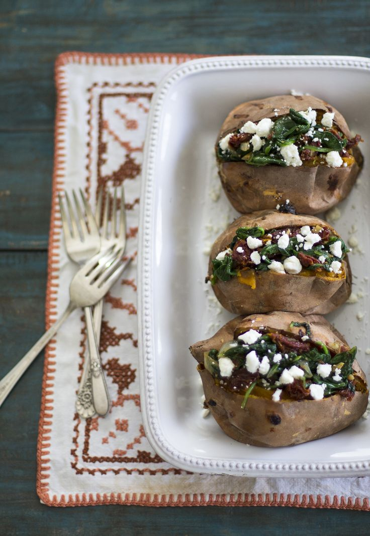 Spinach,  Sun-Dried Tomato, and Goat Cheese Stuffed Sweet Potatoes — My Diary of Us