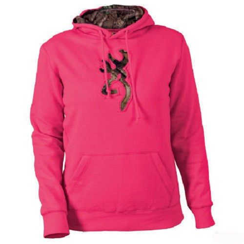 Women's Girl Browning Buckmark Mossy Oak Camo Hoodie Sweatshirt Fuchsia Pink NWT #Browning #Hoodie