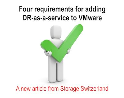 IT organizations and service providers alike, are looking for ways to attract application owners to consume their DR services. In order to offer true DRaaS, infrastructure planners need technologies which can integrate directly with virtualized environments to enable customized service levels that match the various recovery point & recovery time objectives that end users demand.  http://storageswiss.com/2014/08/26/four-requirements-for-adding-dr-as-a-service-to-vmware/