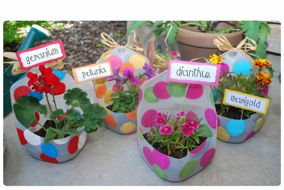 milk jug planters and other great planting ideas...oh, how I want to start a gardening club at school!
