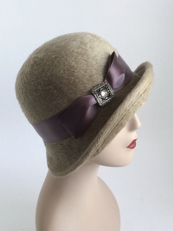Tan Beige Modern Flapper Cloche Hat   Mocha Women's by Una Hats