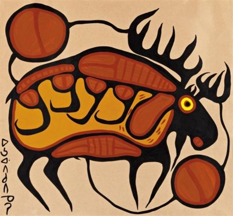 Norval Morrisseau (Canadian, 1932–2007) Title: Moose , ca. 1972 Medium: acrylic on paper Size: 28.75 x 31 in. (73 x 78.7 cm.)
