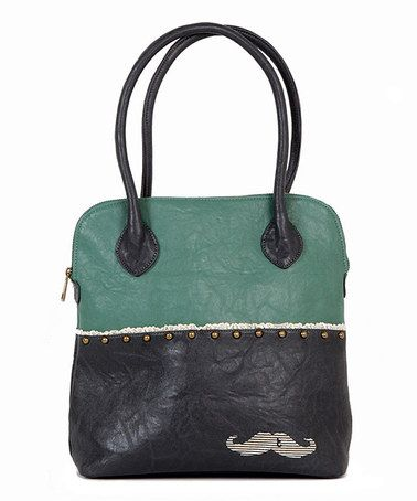 Take a look at this Green & Black Mustache Shoulder Bag by Titis Clothing on #zulily today! $35 !!