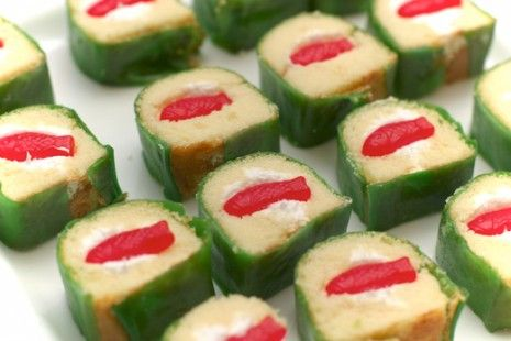 i think these are twinkies wrapped in fruit by the foot garnished with gummy fish to look like sushi~fab!