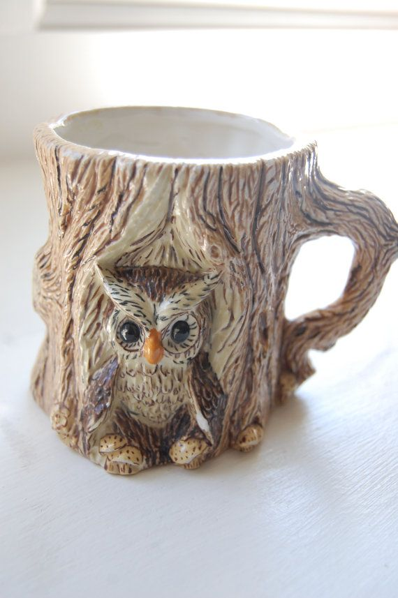 hoot hoot Owl tree mug pencil holder planter