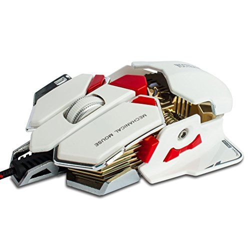 Gaming Mouse Yccteam 10 Button 4000 Dpi Professional Macro Programmable Wired Gaming Mice Ergonomic  Aluminium Base With Led Color Changing For Pro Game Notebook Pc Laptop Computer (white)