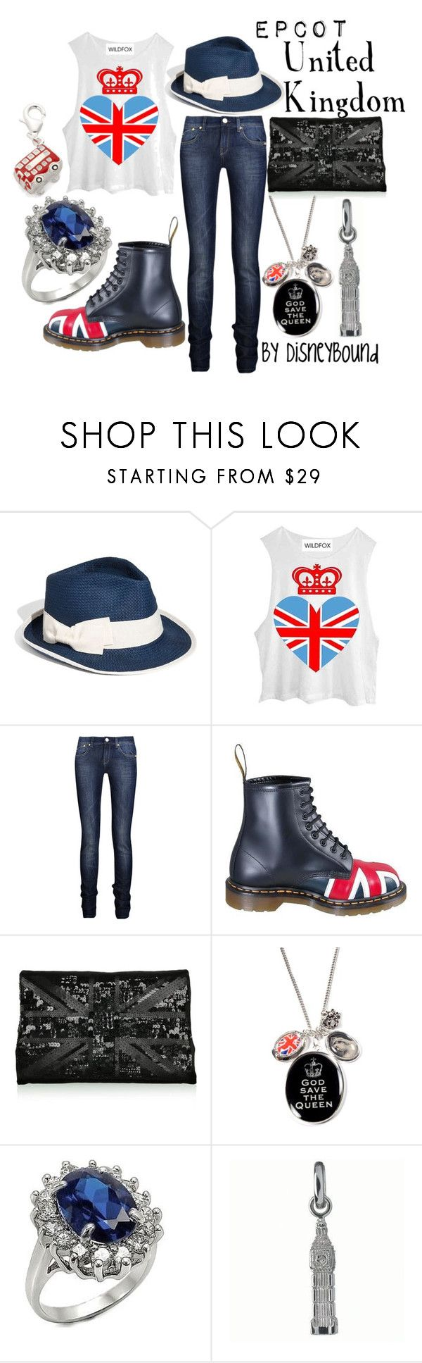 """""""United Kingdom"""" by leslieakay ❤ liked on Polyvore featuring Nordstrom, Wildfox, Victoria Beckham, Dr. Martens, Lulu Guinness, Hoolala, Fantasy Jewelry Box, Links of London, Simply Silver and disney"""