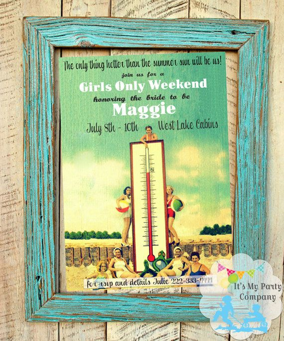 Pin Up Girl / Vintage Beach Party Weekend Lingerie or Bachelorette invitation via Etsy