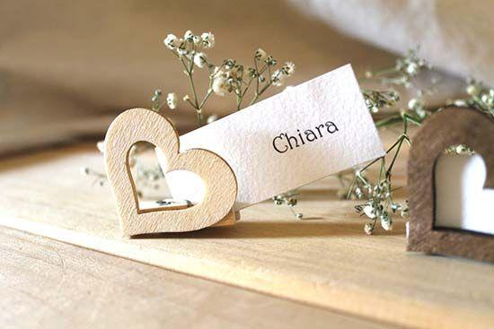 segnaposto matrimonio shabby chic cuore legno