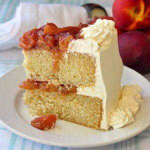 Roasted Peaches and Cream Cake