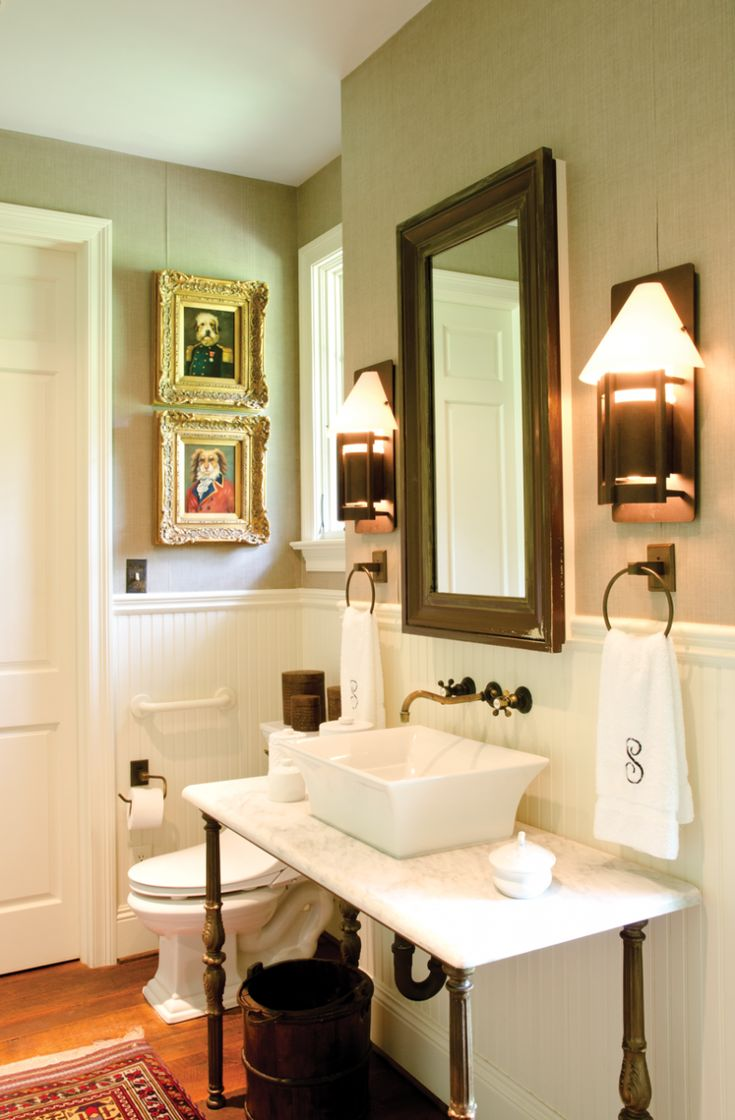 587 best bathrooms images on pinterest bathroom ideas bathrooms powder room with wainscoting