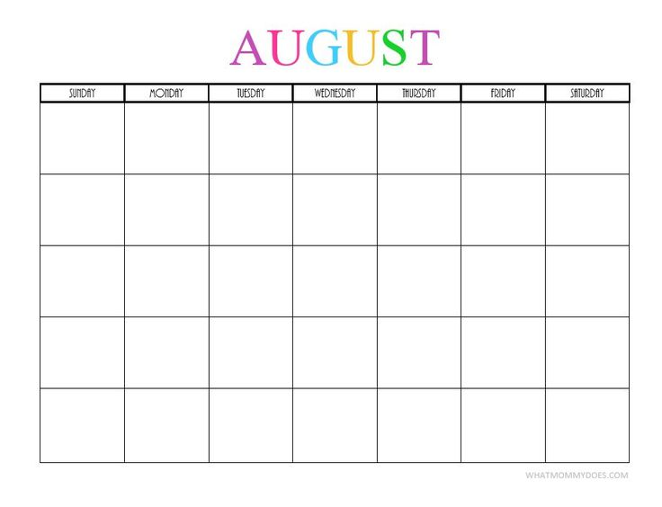 Free Printable Blank Monthly Calendars – 2018, 2019, 2020 ...