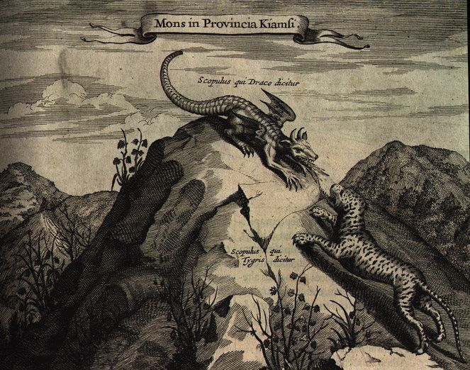 Dragon and Tiger Mountain - Kircher makes mention of a mountain in Kiamsi Province whose summits resemble a dragon and a tiger. But surely this engraving also relates to Chinese mythology, in which the two beasts symbolize cosmic duality: the dragon is the mediator between heaven and earth, while the tiger is the earth's negative force. (China) www.ritmanlibrary.com