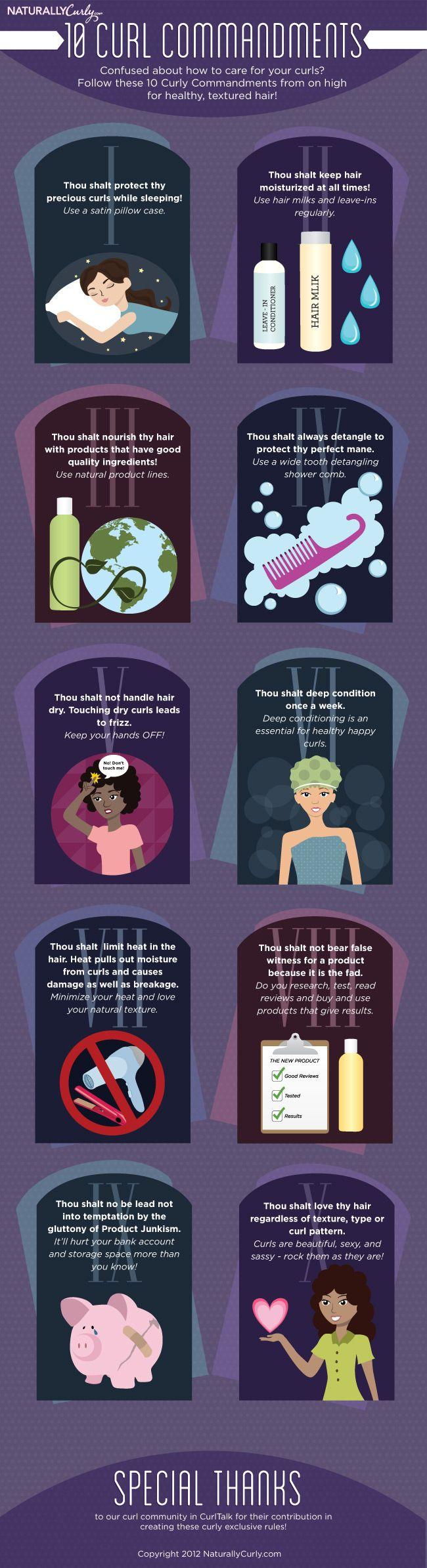 Curly Hair Commandments