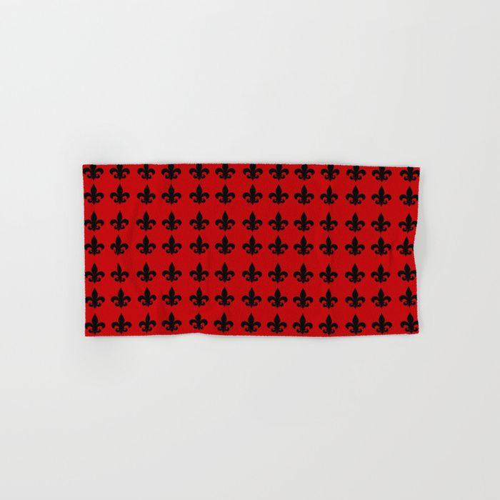 Buy a Set of 2 Hand & Bath Towels and Save! Fleur-de-lis Hand & Bath Towel by scardesign. #red #towel #fleurdelis