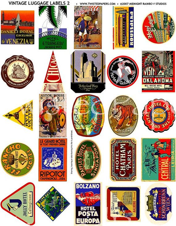 25 LUGGAGE STICKERS, Vintage International and American Travel Luggage Labels and Stickers Printable Digital Collage Sheet 002.