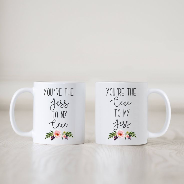 New Girl Mugs, Jess and Cece Mugs, You're the Jess to My Cece Mugs, Pair of Mugs, Best Friends Gift, Present, Bestie, Best Friend, Birthday by SweetMintHandmade on Etsy https://www.etsy.com/listing/538631516/new-girl-mugs-jess-and-cece-mugs-youre