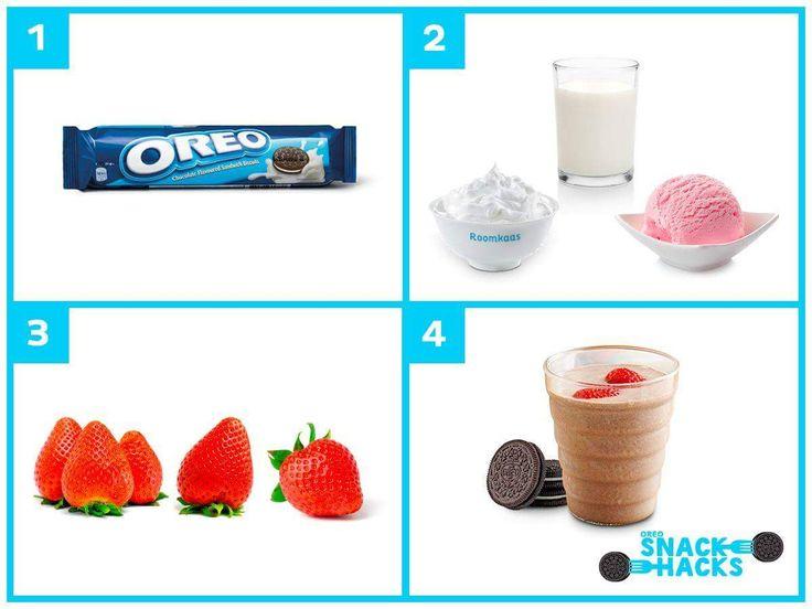 1. Hak 6 Oreo koekjes grof in stukken.  2. Meng de Oreo koeken vervolgens in een blender met 100 ml magere melk, Aardbeienijs (al een beetje zacht), 25 ml cream cheese en 1 theelepel vanillesuiker.  3. Maak de aardbeien schoon en verkruimel nog 1 Oreo koekje.  4. Schenk de Oreo aardbeien milkshake in een glas, top deze af met de aardbeien en de Oreo kruimels. Serveer direct.