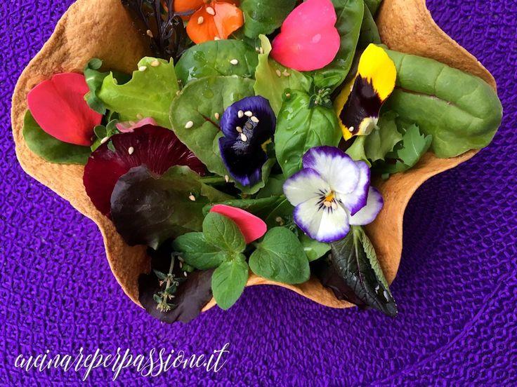 Insalata mista ai fiori con le erbe aromatiche