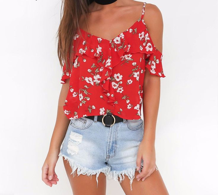 Red V-Neck Floral Print Chiffon Ruffle Cold Shoulder Tops